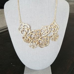 Jewelry - Gold Rose Statement Necklace